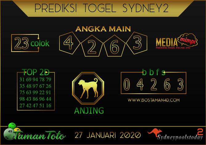 Prediksi Togel SYDNEY 2 TAMAN TOTO 27 JANUARI 2020