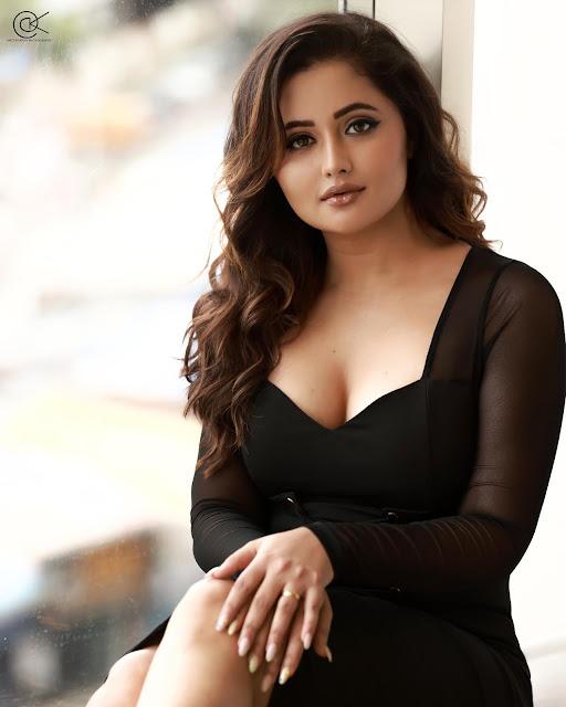 Rashami Desai Latest Hot Stills in Black Dress Navel Queens