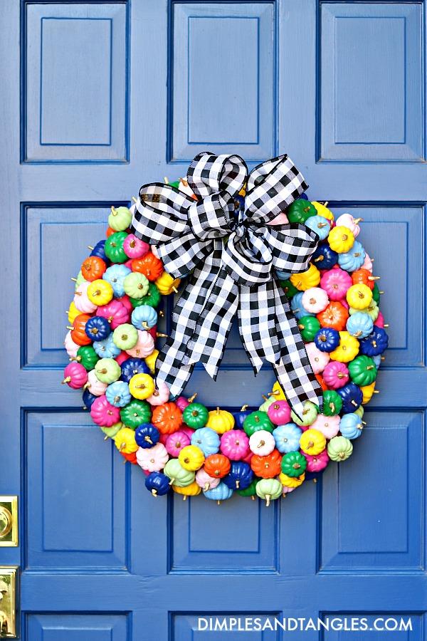 mini pumpkin wreath, diy pumpkin wreath, how to make a mini pumpkin wreath, colorful Fall decorations