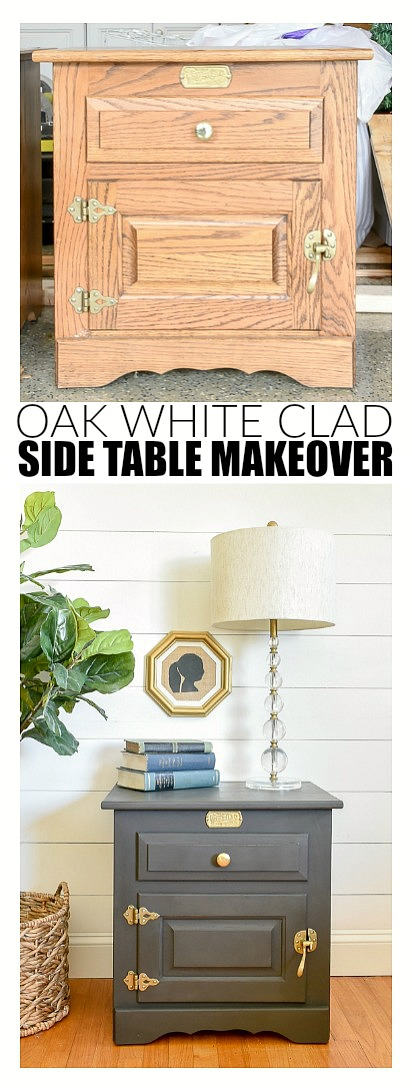 Painted White Clad side table makeover