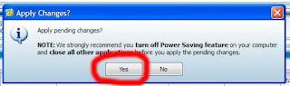 Pilih Yes jika muncul notifikasi