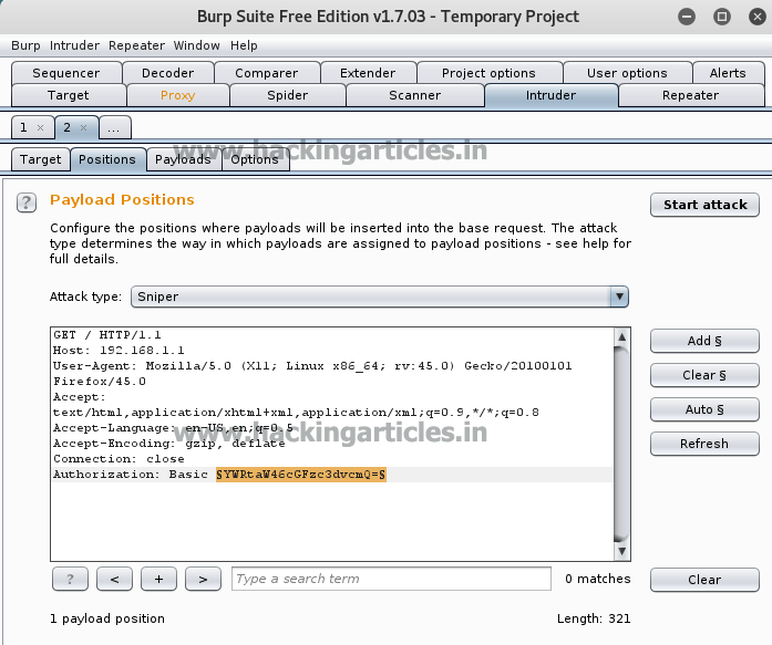 Hack the Basic HTTP Authentication using Burpsuite