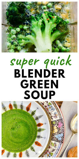 Quick Vegan Lunchtime Green Soup for One - a super fast blender soup for one. Made in minutes. Great for lunchboxes or a quick lunch at home. Low calorie and low fat. Suitable for vegans and vegetarians #blendersoup #quicksoup #greensoup #vegetablesoup #broccolisoup #vegansoup