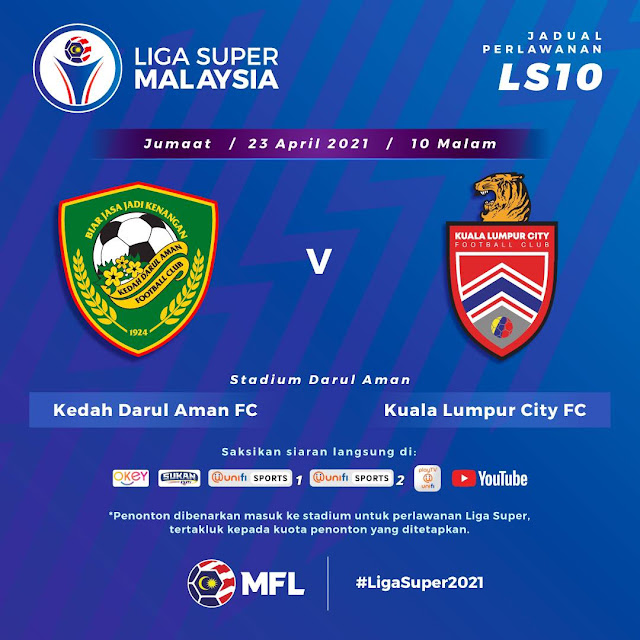 Live Streaming Kedah vs KL Liga Super 23.4.2021