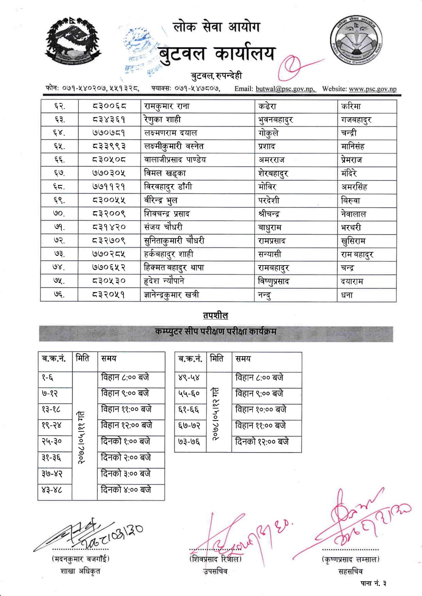 NASU - Dipayal Lok Sewa Aayog Written Exam Result & Exam Schedule