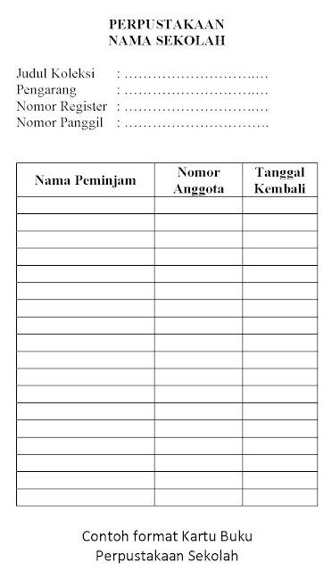 contoh format kartu pinjam buku perpustakaan sekolah