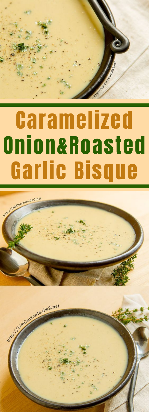 Caramelized Onion Roasted Garlic Bisque #vegetarian #veggies