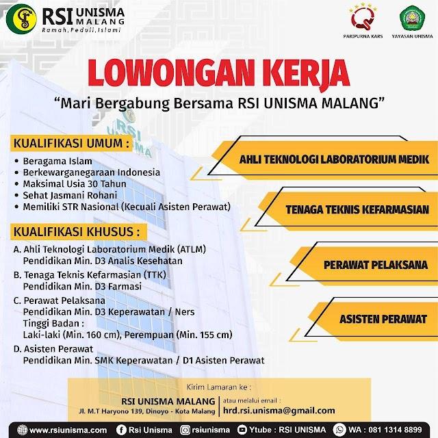 Loker Ahli Teknologi Laboratorium/ Tenaga Teknia Kefarmasian/ Perawat Pelaksana/ Asisten Perawat RSI UNISMA Malang- Jawa Timur