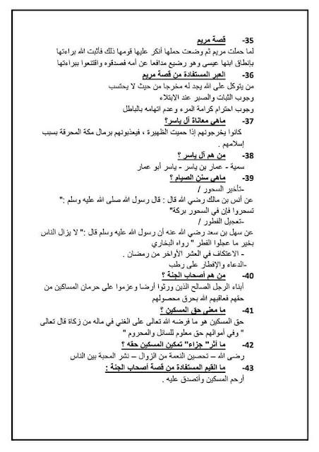 استعد للامتحان الموحد الإقليمي التربية الإسلامية المستوى السادس ابتدائي