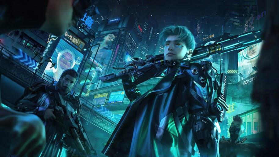 Cyberpunk, Soldiers, Futuristic, City, 4K, #4.3098