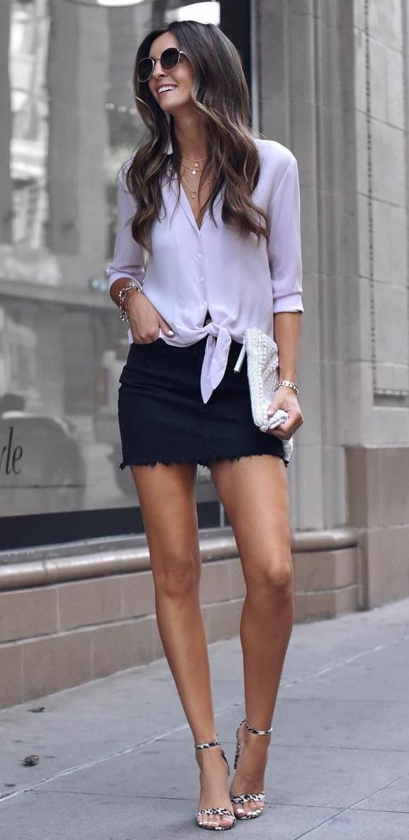 simple summer outfit / chiffon blouse + black skirt + leopard heels