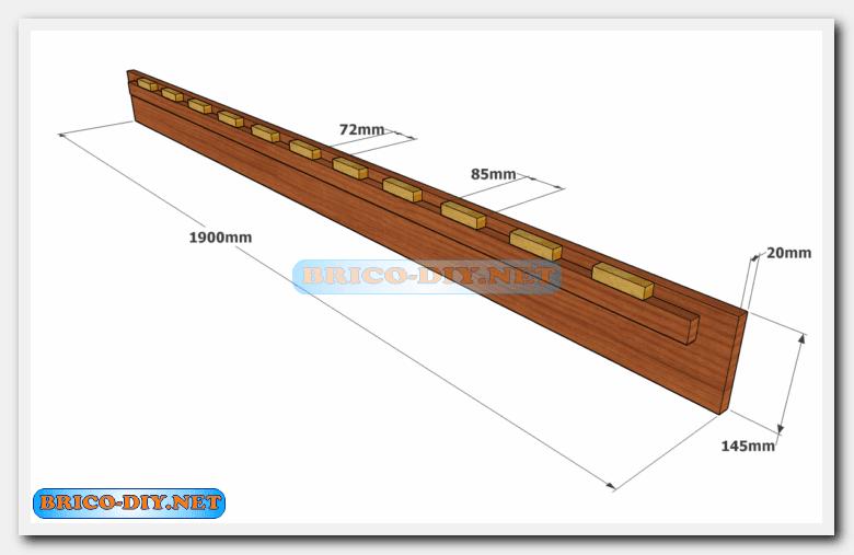 Camas de madera plano con medidas de una plaza y media for Como hacer una cama matrimonial de madera