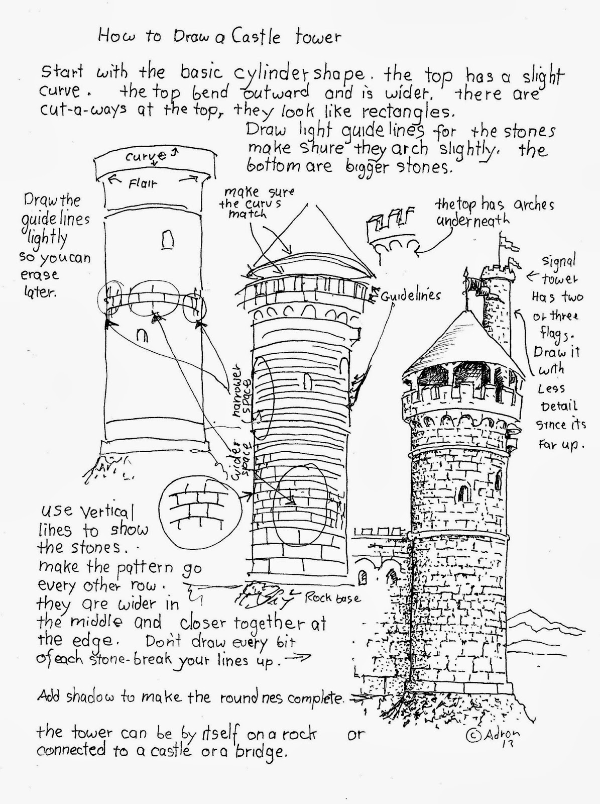 how to draw a castle tower worksheet