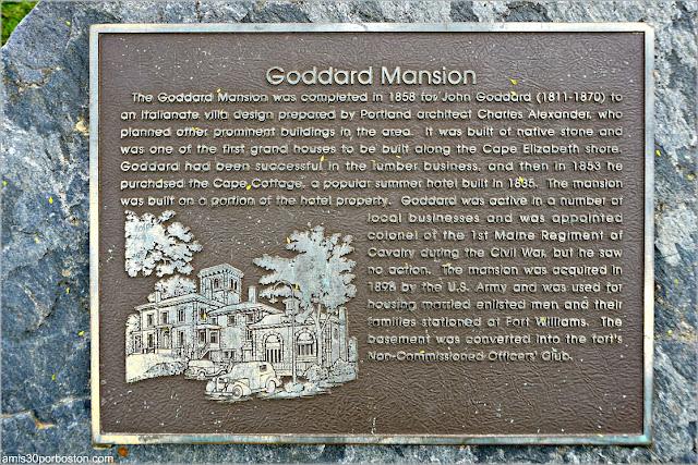 Placa de la Goddard Mansion en el Fuerte Williams