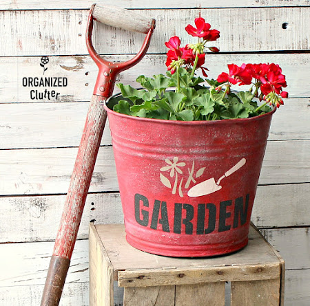Painted and Stenciled Garden Bucket