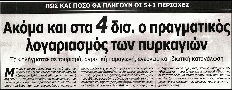 ΚΟΣΤΟΣ ΠΥΡΚΑΓΙΑΣ