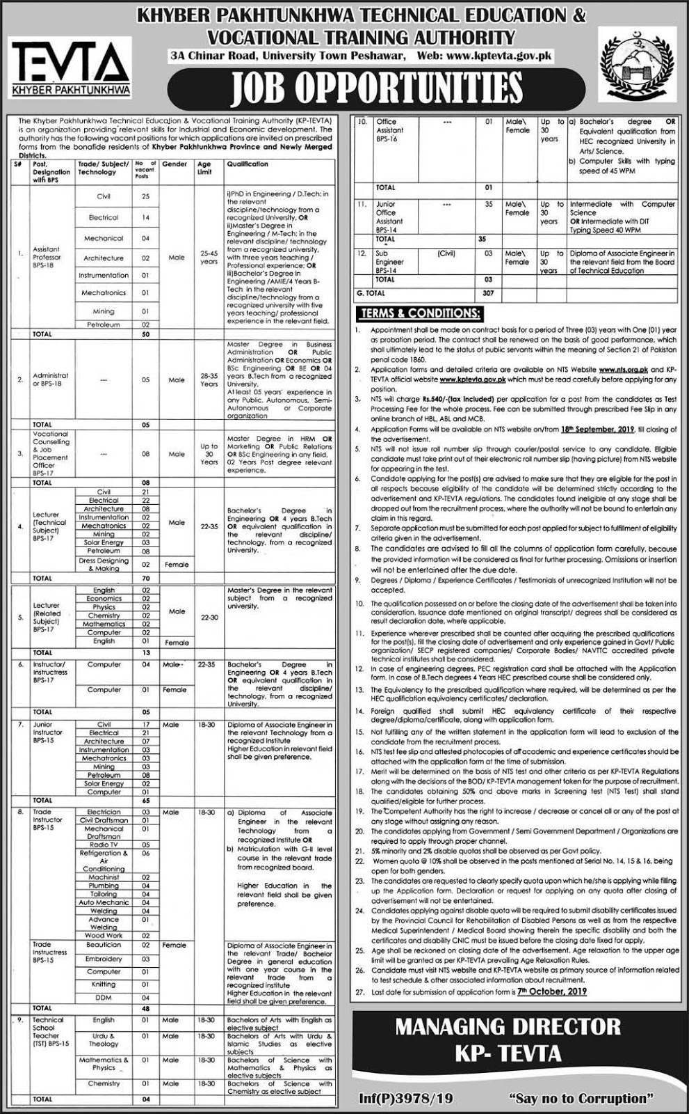 Jobs in TEVTA 2019 Through NTS