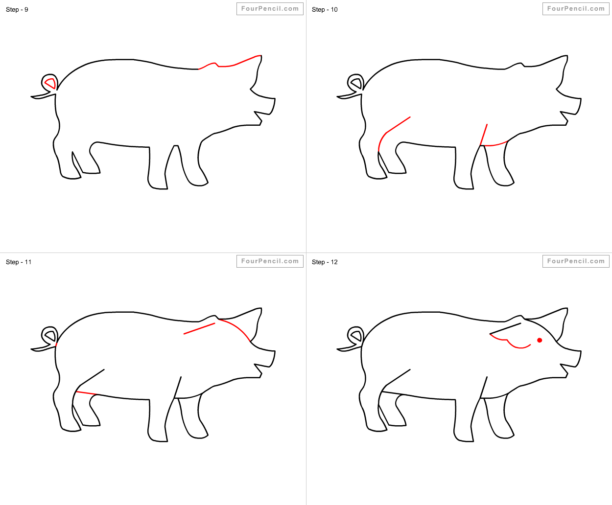 How to draw pig slide 1