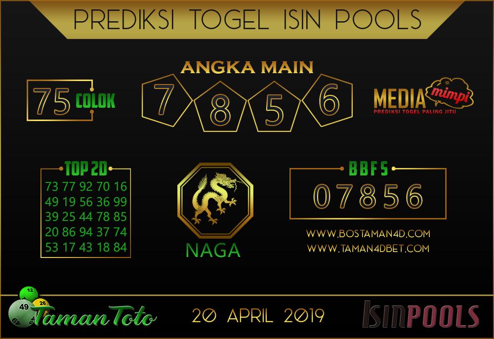Prediksi Togel ISIN TAMAN TOTO 20 APRIL 2019