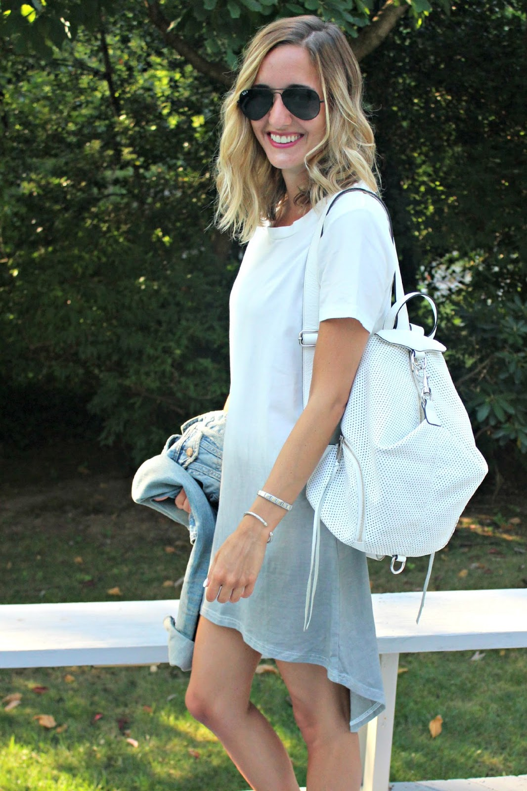 white and gray ombre dress