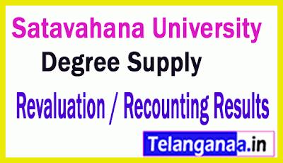 Satavahana University (SU) Degree Supply Revaluation / Recounting Results