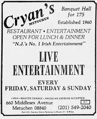 Cryan's club in Metuchen, New Jersey