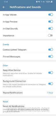 Pengaturan Notifikasi Telegram Android
