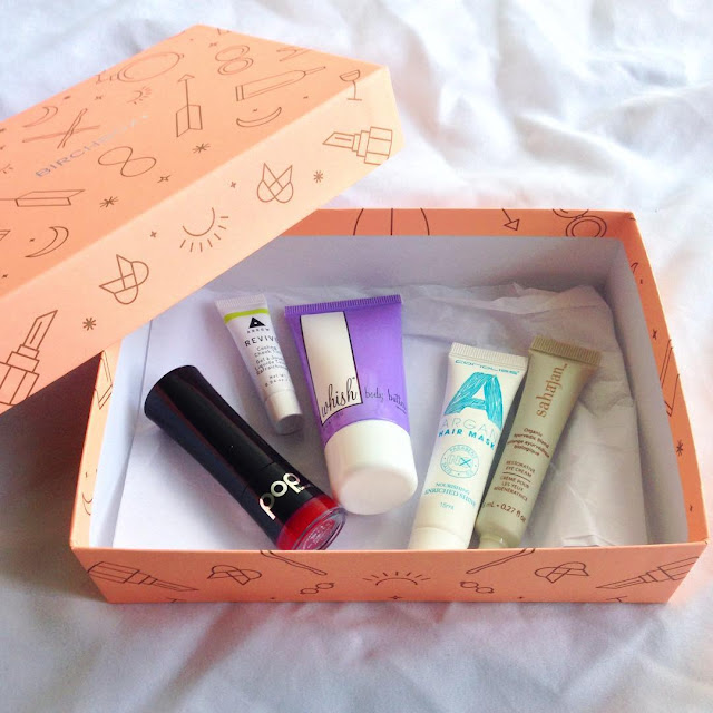 argan, arrow, beauty box, beauty box review, Birchbox, conditioning mask, cooling cheek tint, Corioliss, eye cream, lipstick, matte, POP beauty, Sahajan, subscription box, unboxing