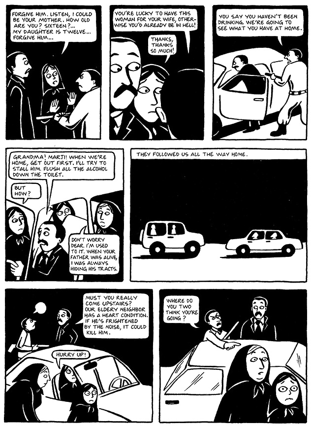 Read Chapter 14 - The Wine, page 107, from Marjane Satrapi's Persepolis 1 - The Story of a Childhood