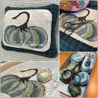 'Cinderella Pumpkin' Punch Needle Design by Rose Clay at ThreeSheepStudio.com  click on 'Studio/Shop'