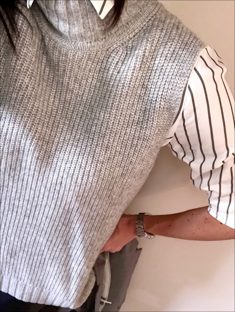 My Midlife Fashion, Zara striped oversized shirt, french connection faux leather leggings, hush thornton ankle boots, J Crew Regent blazer, Modern Rarity a line knitted tunic