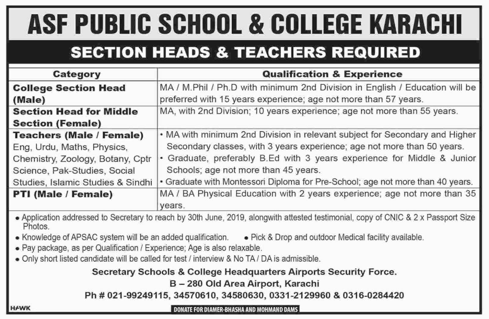 Jobs In ASF Public School And College Karachi