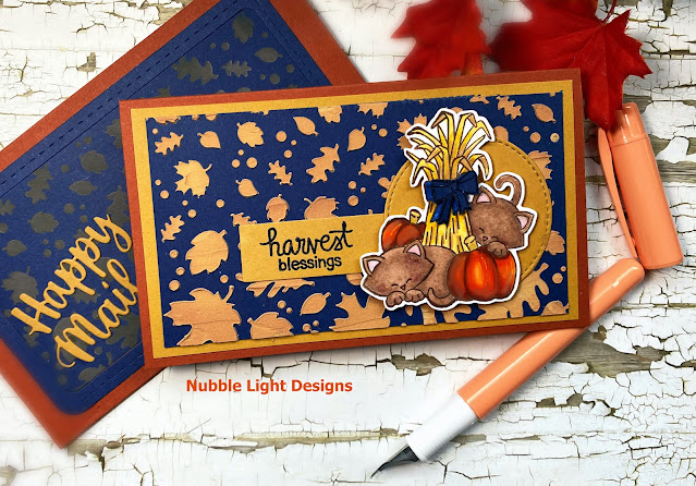 Harvest Blessings Card by September Guest Designer Priscilla Joseph | Autumn Newton Stamp Set and Falling Leaves Stencil by Newton's Nook Designs #newtonsnook