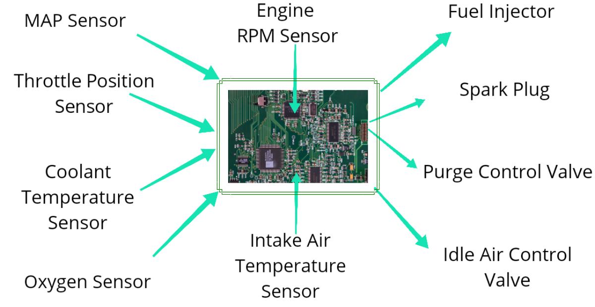 Sensors actuators and engine control module (ecm) of engine management system