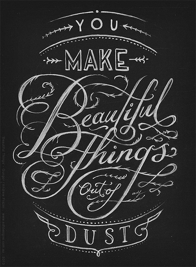 Inspirasi desain tipografi terbaik dan terbaru - Beautiful Things by Andrew Frazer