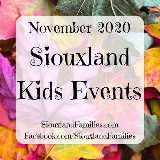 """in background, a colorful pile of fall leaves. in foreground, the words """"november 2020 siouxland kids events"""""""