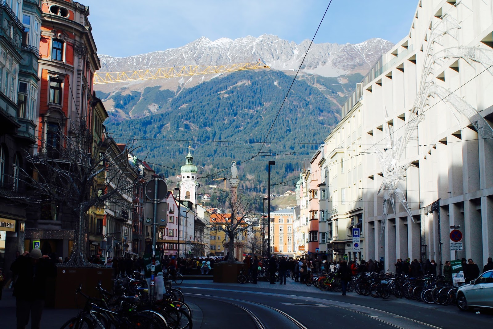 Innsbruck view of Christmas markets and mountains