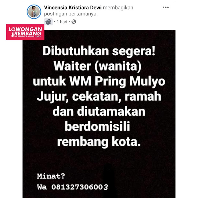 Lowongan Kerja Waiter Warung Makan Pring Mulyo Tanpa Syarat Pendidikan