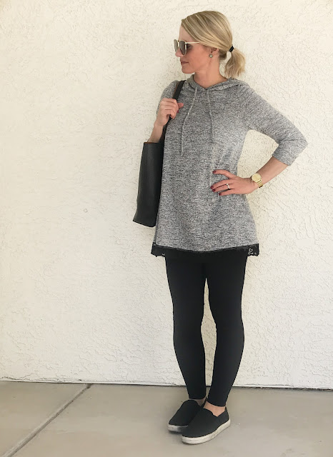 Thrifty Wife, Happy Life | Casual grey hoodie sweater with lace trim