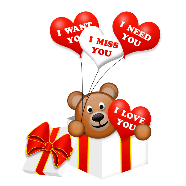 Teddy bear with love messages