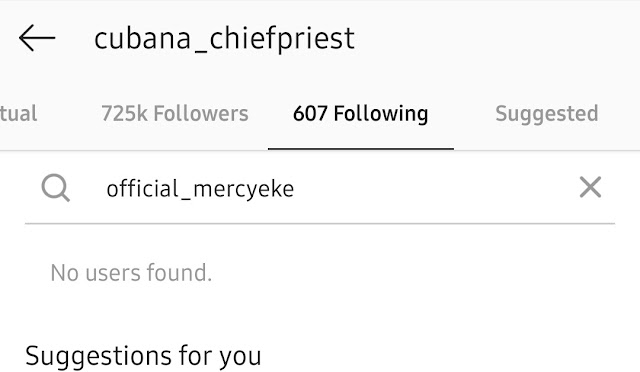 Cubana Chief Priest Unfollows Mercy, Deletes All Her Photos On Instagram (Photos)