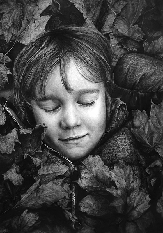 09-Autumn-Dream-Liu-Ling-Faces-of-Writers-in-Charcoal-Drawings-www-designstack-co