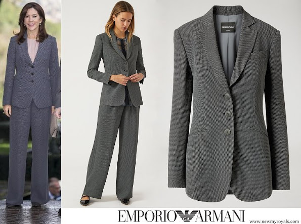 Crown Princess Mary wore EMPORIO ARMANI geometric-embossed-jacket