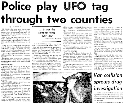 Police Play UFO Tag - Rockford Register 11-4-1973