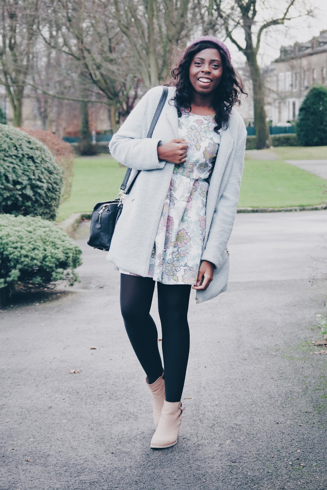 dear teenage me, anika may, winter style, winter coat, blogger style, winter fashion, ootd, floral dress, winter florals