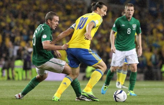 Zlatan Ibrahimovic in action against the Republic of Ireland