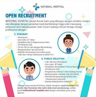 Lowongan kerja perawat dan public relation di National Hospital Surabaya 2019