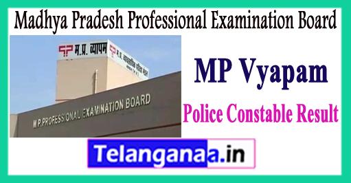 MP Madhya Pradesh Vyapam Constable  Expected Cutoff Result 2017 Answer Key
