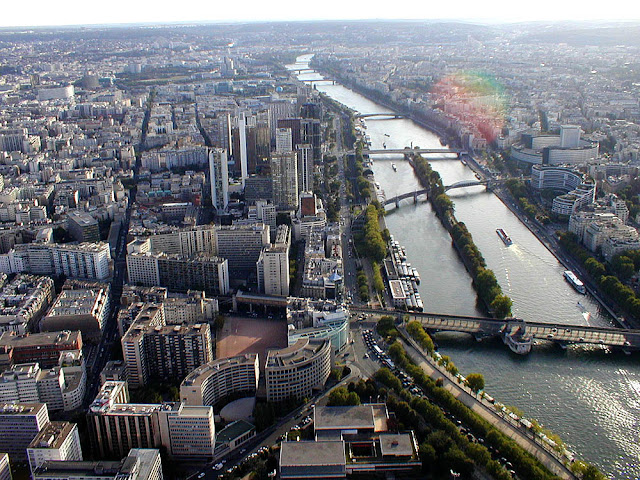View down the Seine and Ile des Cygnes from the Eiffel Tower, Paris. Photo by Loire Valley Time Travel.