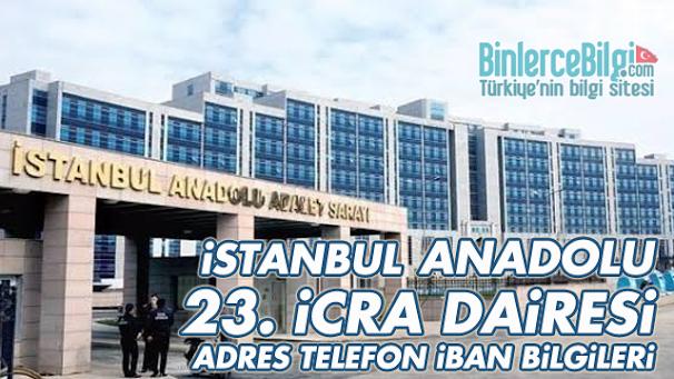 İstanbul Anadolu 23. İcra Dairesi Adresi, Telefonu, İBAN Numarası